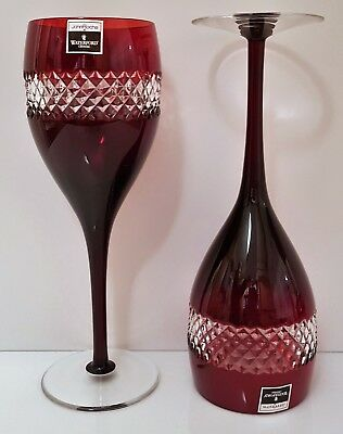 Pair Waterford John Rocha Red Cased Red Wine Goblets, New Without Box, Signed