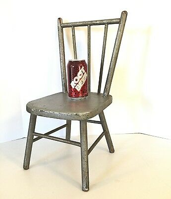 "Antique 19"" Plank Bottom CHILDS CHAIR Shabby Crazed Chippy Paint doll bear chic"