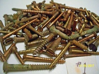 "145 - Vintage Solid Brass Wood Screws With The Flat Reg. Slot Head, 1/2""- 2"", #1"