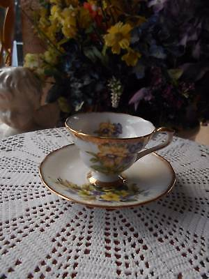 vintage rosina queens TEACUP AND SAUCER purple yellow flowers england