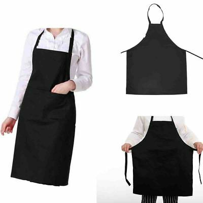 Black Chef Apron Kitchen Waterproof Pocket Catering Cooking Butcher Unisex Gown