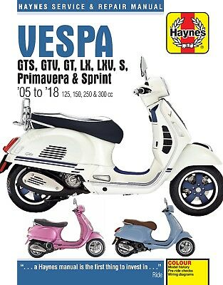 4898 Haynes Vespa GTS, GTV, LX & S 125 to 300 (2005 - 2014) Workshop Manual