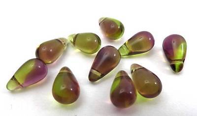 (10) Vtg Czech Glass Green Purple Porphyr Swirl Briolette loose Bead 10mm