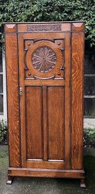 Fine Arts & Crafts Rare Solid Oak Hall Wardrobe- 2 Man Delivery Available