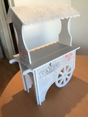 XXL CANDY CART Trolley Flat Pack Large Wedding White.Printed Sweet Display Stand