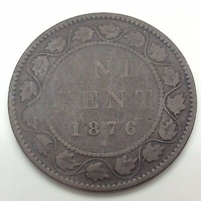 1876 H Canada Copper 1 One Large Cent Penny Circulated Canadian Coin C334