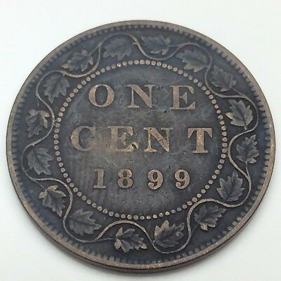 1899 Canada Copper 1 One Large Cent Penny Circulated Canadian Coin C337