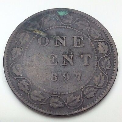 1897 Canada Copper 1 One Large Cent Penny Circulated Canadian Coin C341