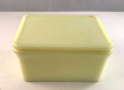 """McKee Seville Yellow Glass Refrigerator Dish with Lid 4"""" x 5"""""""