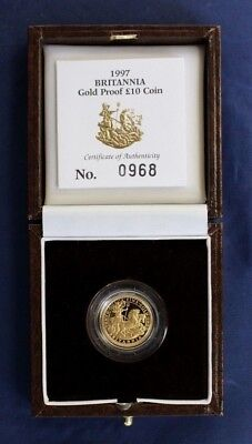 1997 Gold Proof 1/10oz £10 Britannia coin in Case with COA    (G6/4)