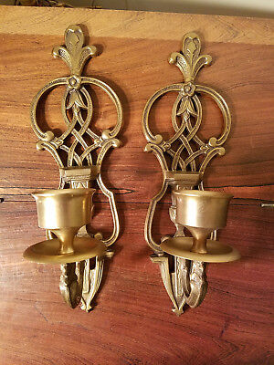 Vintage Pair of Brass Decorative Wall Candle Sconces