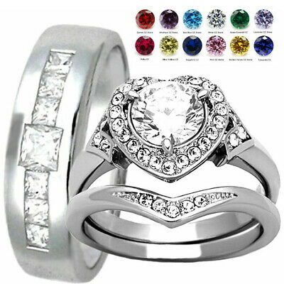 His and Hers Stainless Steel Love Heart Halo CZ Engagement Ring Wedding Band Set
