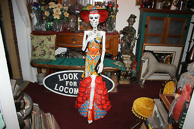 HUGE LIFESIZE Day Of The Dead Ceramic Porcelain Statue-Dia de los Muertos-Mexico