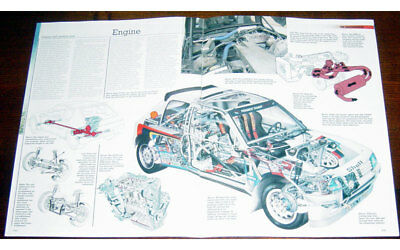 Peugeot 205 T16 - Technical Cutaway Drawing + Fold-out Poster Print