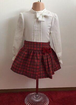 Girls Spanish dress Alber Christmas dress red tartan skirt and blouse set