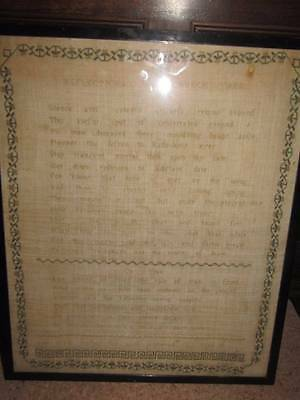 Rare Antique Sampler 1812 Reflections in a Church Yard