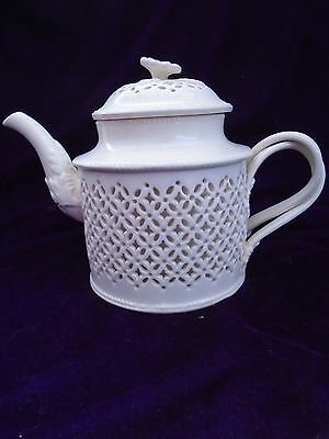 Antique  Leedsware  Pottery Classical Cream Ware Pierced  Cross Handled Tea Pot