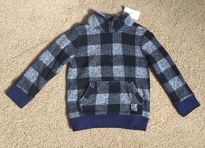 Toddler Boy Size 2 Years Baby Gap Navy Blue Checked Fleece Sweater Jacket