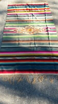 Vintage Mexican Wool  Serape Blanket -  79 X 42 inches long, not include fringe