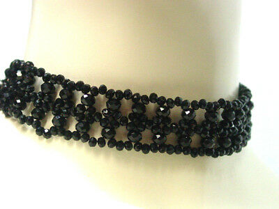 Black Beaded Choker Necklace Victorian Vintage Edwardian Antique Gothic Style