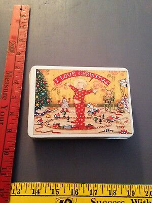 Mary Engelbreit I Love Christmas Tin 1987 Hong Kong Stars Train