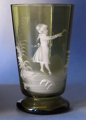 Antique Bohemian Czech Glass Hand Painted Mary Gregory design goblet 1900-1910's