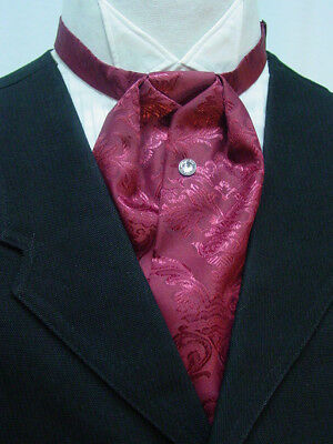 Cravat Ascot Wedding Old West Vintage Victorian style puff tie Burgundy Brocade