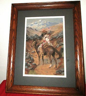 """Vintage Original Painting By G.toth Horse & Rider Frame Is 18""""X14"""""""