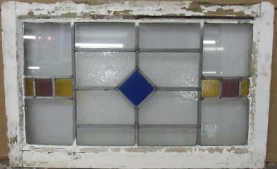 """MID SIZED OLD ENGLISH LEADED STAINED GLASS WINDOW Simple Diamond 26.25"""" x 16.5"""""""