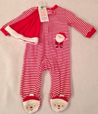 NWT Carters Just One You Infant Christmas Sleeper Santa With Hat Pajamas Striped
