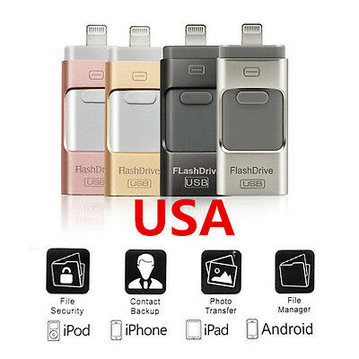 USA i Flash Drive USB Memory Stick U Disk 3 in 1 for Android/IOS iPhone 6S PC