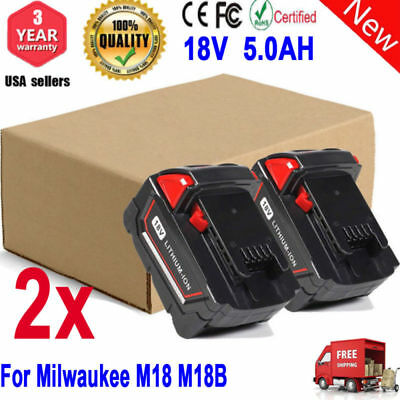 2 Pack 18V 5.0Ah Battery For Milwaukee M18 M18B 48-11-1820 48-11-1850 48-11-1822