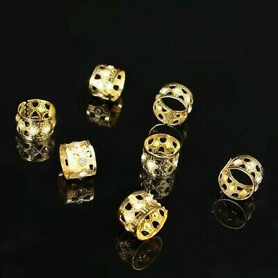 8x Bling Dreadlock Beads, Cuffs, Clips for Braids, Hair Extensions, Gold Colour