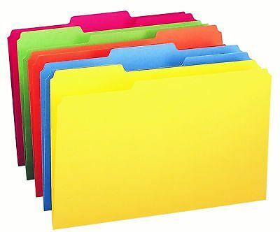 Office Depot Legal 1/3 Tab Assorted Colors File Folders Red, Yellow, Blue
