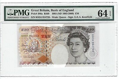 P-386a  1993 10 Pounds, Bank of England, Great Britain, Kentfield, PMG 64EPQ
