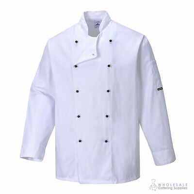 Chef Jacket Coat Long Sleeve White Hospitality Uniform Cook Kitchen Portwest XS