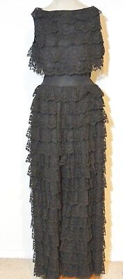 Darling 1960's Eyeful Black Lace Ruffled Pants / Jumpsuit w Lace Blouse Sm - MED