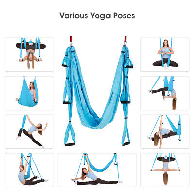 Aerial Yoga Swing Trapeze Fitness Home GYM Hammock Invertion Pilates Sling Blue