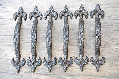 6pcs VINTAGE Cast Iron door cabinet screen handles Pull rustic Victorian 7""