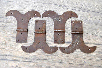 "4"" VTG Iron French Gothic TOOL BOX TRUNK CHEST JEWELERY BOX HINGES Barn 4pcs"