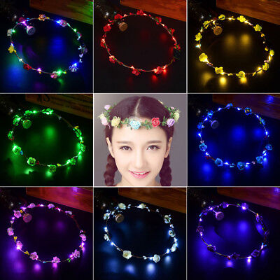 Wedding Xmas Party Crown Flower Headband LED Light Hair Wreath Hairband Garlands