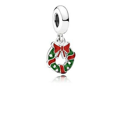 Genuine Pandora Silver Holiday Wreath Dangle Charm 796362ENMX