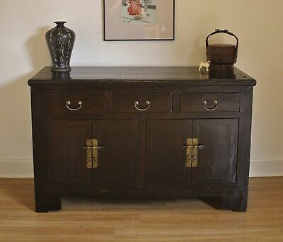 Rustic Antique Oriental Chinese Elm Sideboard Buffet Cabinet Dresser / TV Stand
