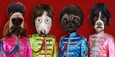 Ltd Edition signed Giclée Print by Carl Bevan. 32.5x65cm 1 of 50. Beatles / Dogs