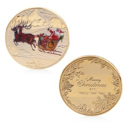 New Year Merry Christmas Santa Claus Deer Sleigh Commemorative Coins Souvenirs