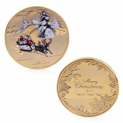 New Year Merry Christmas Santa Claus Deer Sleigh Commemorative Coin Souvenir