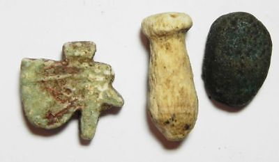 ZURQIEH - ANCIENT EGYPT.  lot of 2 Faience, And one Stone. 600 - 300 B.C