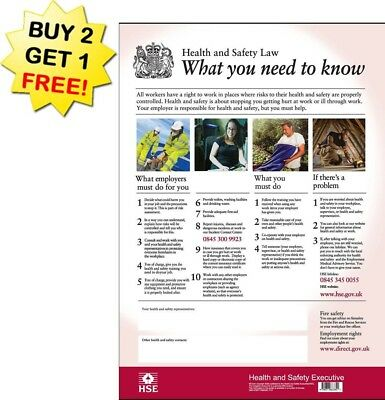 HSE Health And Safety Law Poster A2 - Latest Version 350 GSM (BUY 2 Get 1 FREE)
