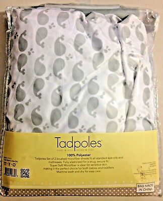 Tadpoles 2 Piece Microfiber Crib Fitted Sheets, White/Grey