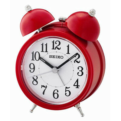 Seiko Bell Alarm Clock with Light and Snooze - Red Analog QHK035R